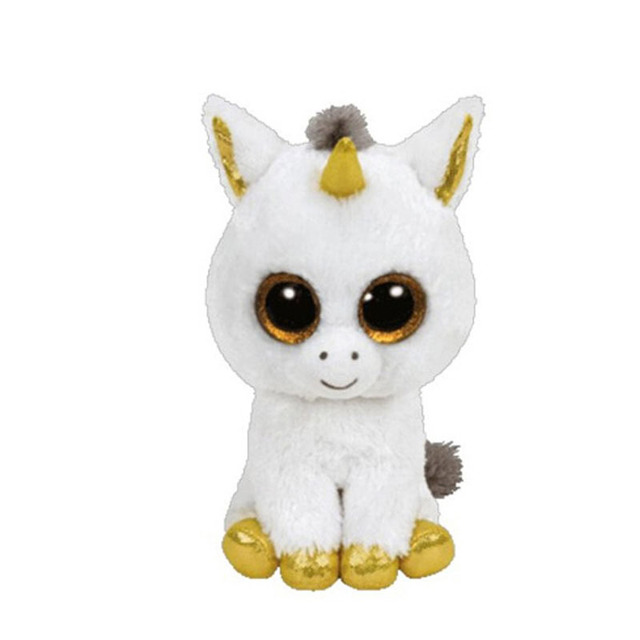 Ty Beanie Boos Original Big Eyes Plush Toy Doll Child Birthday Husky Cat Owl Unicom  Baby Foxy Toy 15cm WJ159