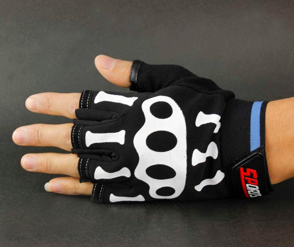 GOTHIC Mens Misfit White Skeleton Bones Fingerless Black Work Gloves Goth Horror(China (Mainland))