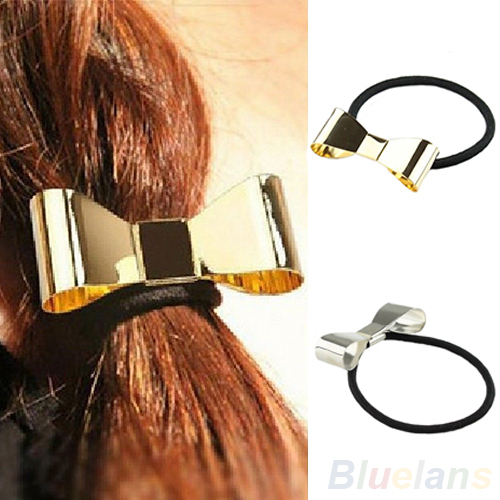 Fashion Punk Polish Metal Bow Tie Hair Band Cuff Wrap Tail Holder Headband Headwear Women 9HTF