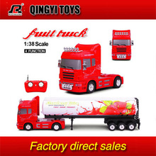QYTOYS Rui Chuang 1:38 new rc heavy fruit container trailer truck with lights(China (Mainland))