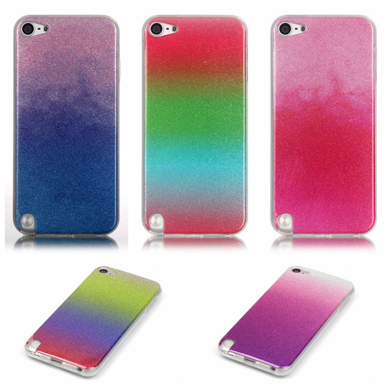 Cell Phone Case For Apple iPod Touch 5 6 Glitter Bling Fashion Soft TPU Back Cover Colorful Skin ,New Arrival(China (Mainland))