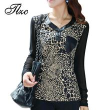 NEW Autumn Lady Fashion Leopard Print Tees Large Size L-4XL Good Brand Vintage Design Elegant Women Casual T-Shirts(China (Mainland))