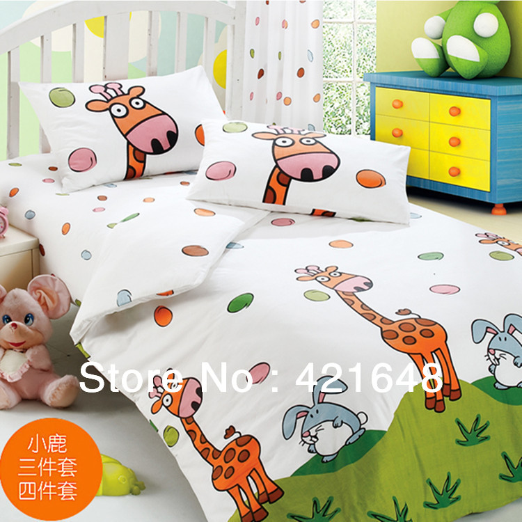 Free Shipping!Cartoon kid giraffe bedding set 100% cotton stripe print bed sheets/ fitted four piece set /home textile /Child(China (Mainland))