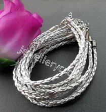 Wholesale free shipping silver tone braid leather  Chain bracelt  QHB0002   (180+40)X3mm  100pcs/lot(China (Mainland))