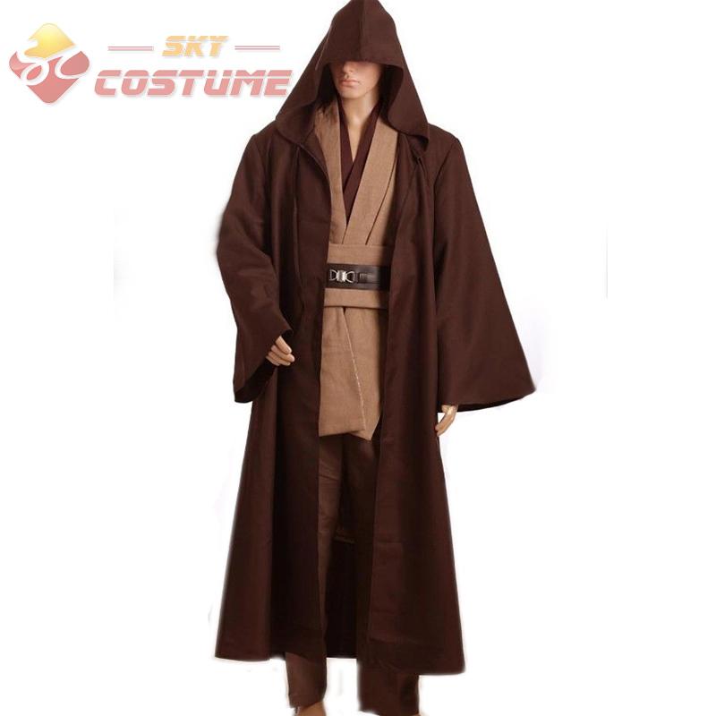 Star Wars Obi Wan Kenobi TUNIC Jedi Knight Hooded Adult Men Robe Cloack Whole Set Cosplay Costume Halloween Free Shipping(China (Mainland))