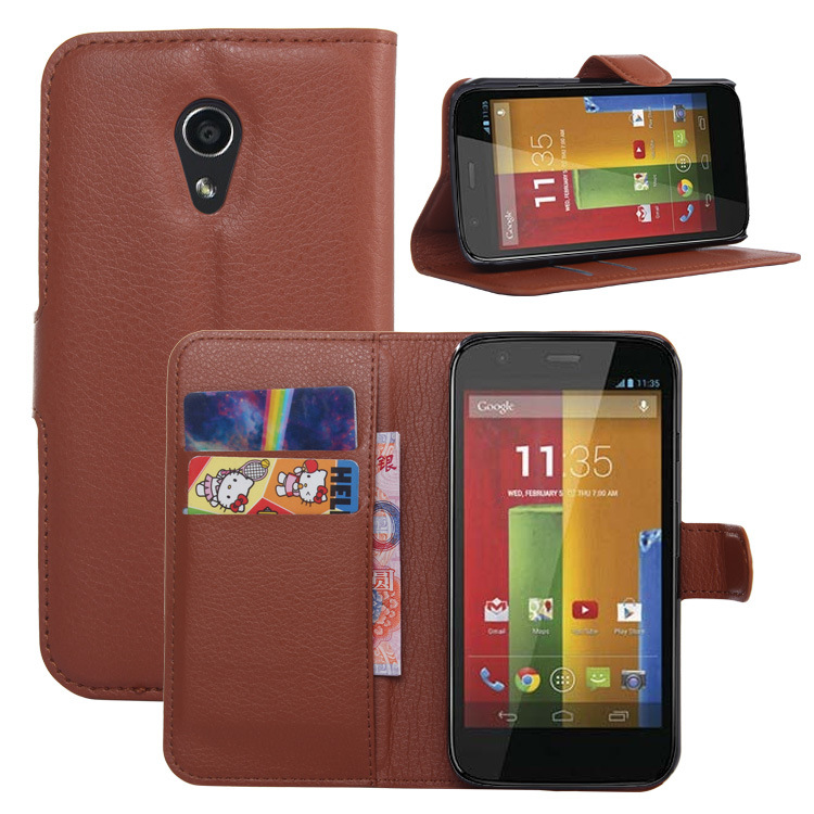"""For Motorola moto G2 xt1068 xt1069 xt1063 5.0"""" pu leather phone bags cover flip case + card holder + stand function wallet pouch(China (Mainland))"""