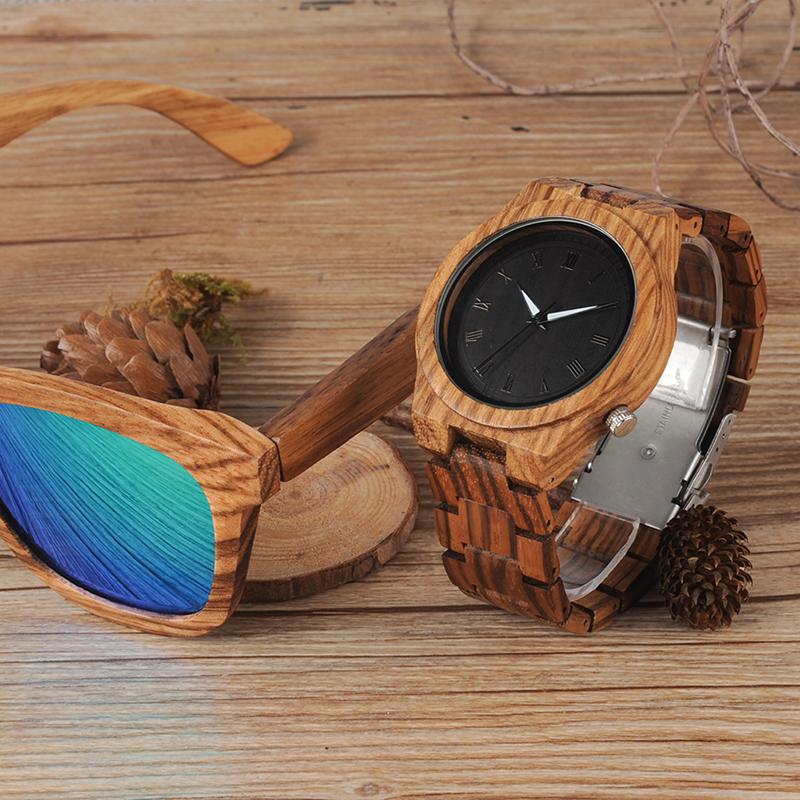 Zebra Wood Strap Wristwatch Wooden Strap Quartz Watches Gifts relogio masculino C-M30 (7)