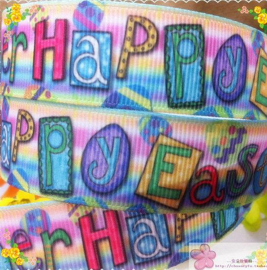 "Free Shipping 50 yards 7/8"" 22mm happy easter printed grosgrain ribbon hairbow wholesales yf(China (Mainland))"