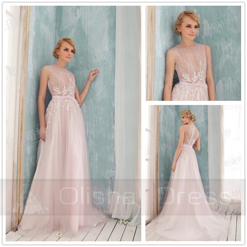 Hot Sale Real Photo Amzing Pink Organza A-Line Sequins Sashes Court Train Long Wedding Dressses Bridal Gowns vestido de noiva(China (Mainland))