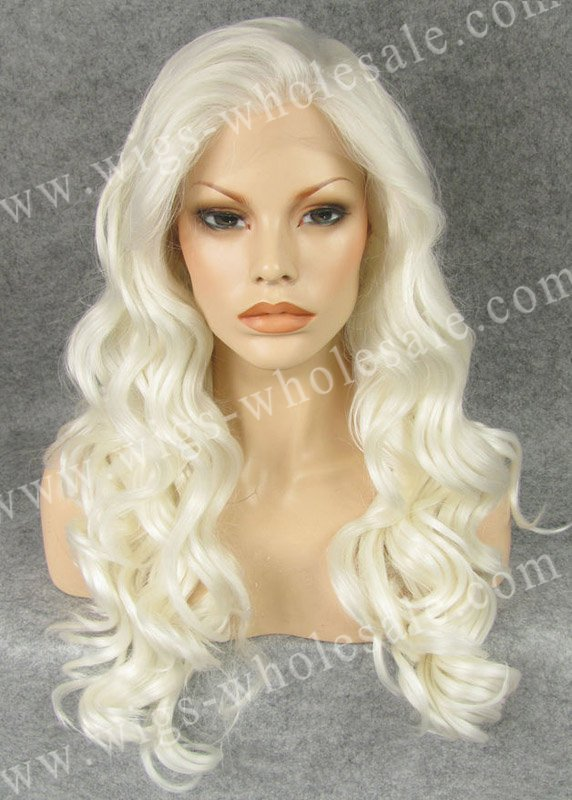 Synthetic lace front wigs braided  white long wavy N7-1001<br><br>Aliexpress
