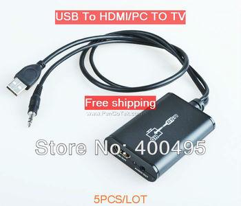 Free shipping 5PCS/LOT Wholesale LKV325 USB 2.0 to HDMI,USB to HDMI Converter 1080P PC TO TV