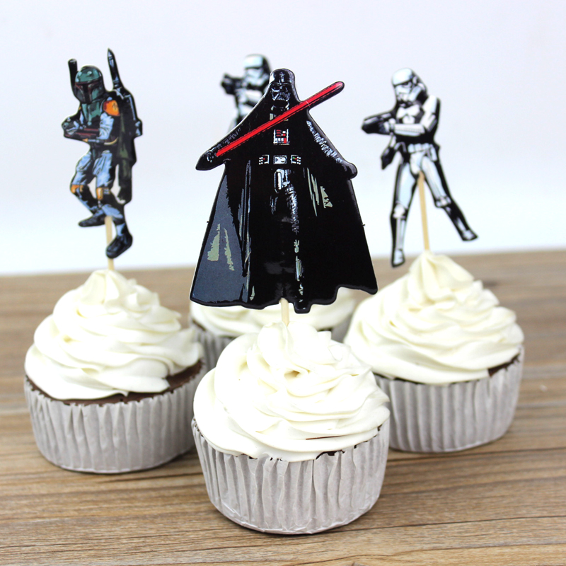 72pcs The Star Wars Party Supplies Cartoon Cupcake Toppers Pick Birthday Decoration Kids Party Favors(China (Mainland))
