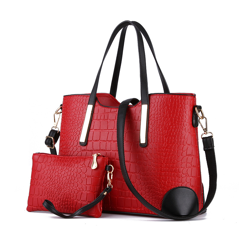 New 2016 Women Handbags Leather Hand Bag Michael Crocodile Crossbody Bag Shoulder Messenger Bags Clutch Tote Purse 2 sets sac(China (Mainland))