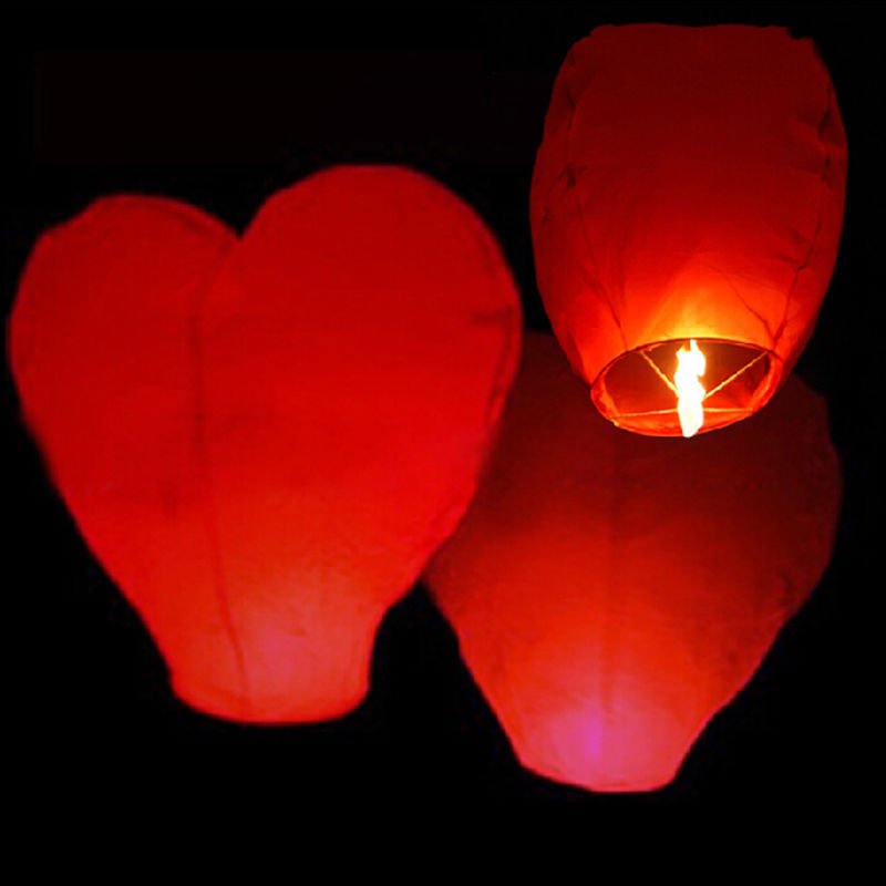 1 PC Cute Love Heart Sky Lantern Party Flying Wishing Lamp Hot Air Balloon Kongming Birthday Favors(China (Mainland))