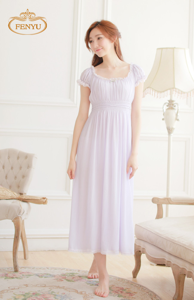Free Shipping Classical Vintage Princess Chiffon and Modal Long Nightgown White and Purple Nightshirt Summer Sleepwear(China (Mainland))