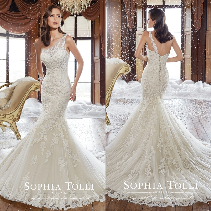 Appliques beads tulle lace one shoulder wedding dresses for Fitted wedding dresses for plus size