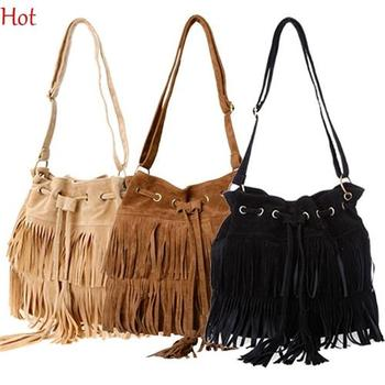 2015 Fashion Tassel Shoulder Bag Womens European Suede Fringe Handbags Messenger Bags String Crossbody Bag Brown Black SV013750