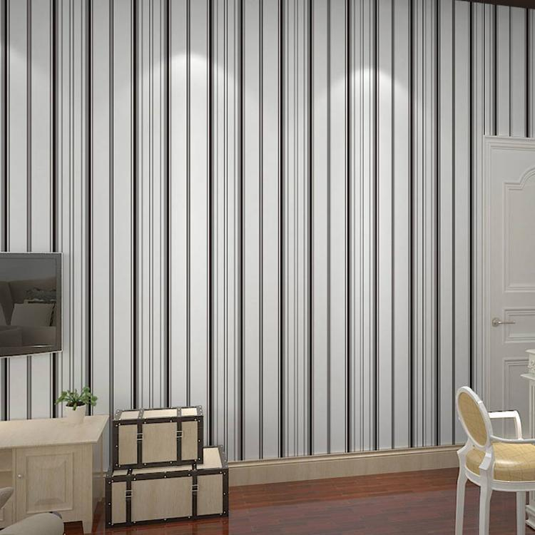 Free shipping non woven wallpaper black and white vertical for Striped wallpaper bedroom designs