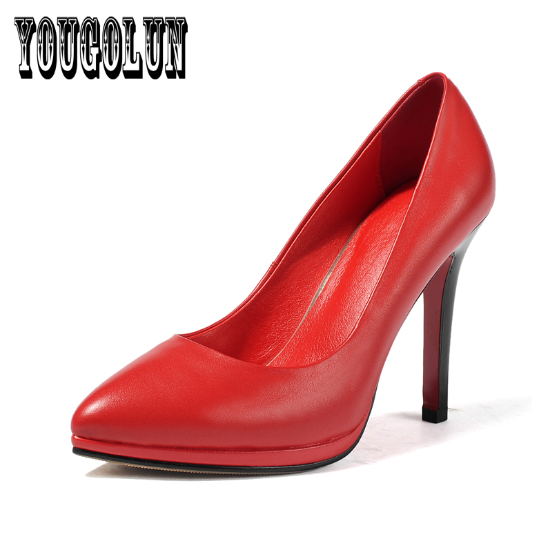 cow genuine leather black red thin high heel woman shoes,2016 Summer elegant platform Gladiator wedding pointed toe women Pumps