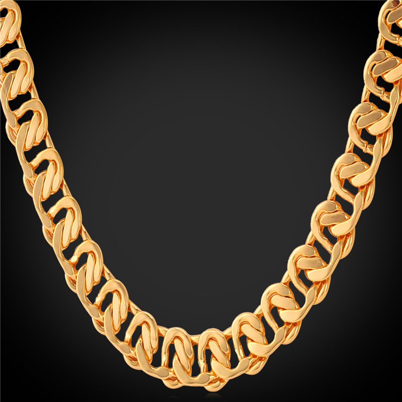 Men Chain Necklace 18''/22''/26'' 18K Yellow Gold/Rose Gold/Platinum Plated Necklace Men's Jewelry 2016 Trendy Wholesale N819(China (Mainland))
