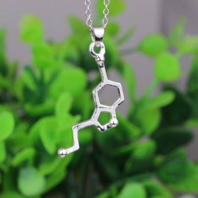 Health and Medical Science Serotonin Necklaces for Women Serotonin Molecule Silver Simple Necklace Pendants Chemistry Necklace(China (Mainland))