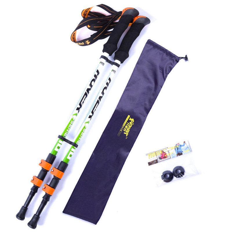 2pcs lot Speed lock carbon fiber material nordic walking stick retractable trekking poles cane with bag
