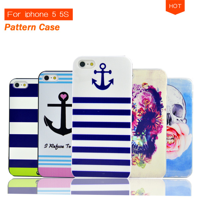Cartoon Cute Hard Case with Stripe Anchor Navy Punk Skull UK Flag Tribal Print for iphone 5 5S 5G Cell Phone Protective Cover(China (Mainland))
