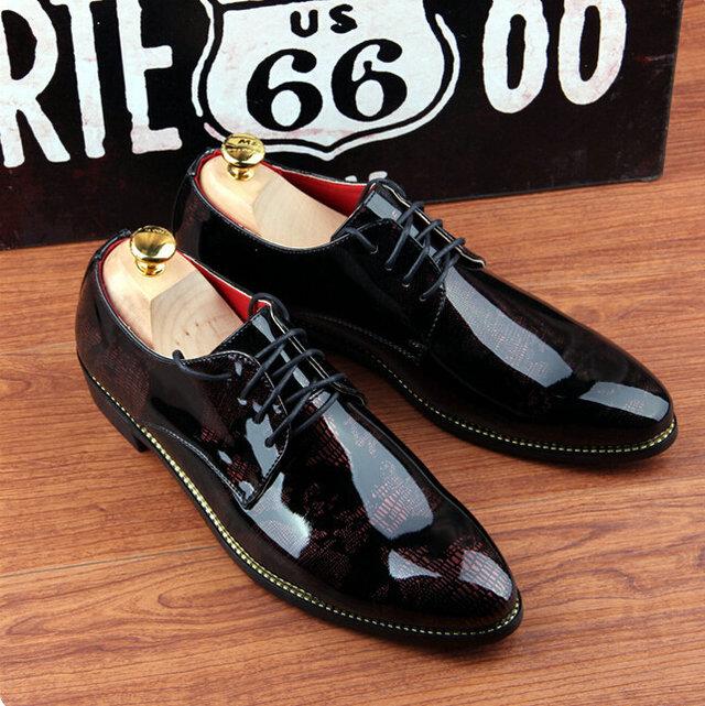 Brand Retro vintage men Genuine Leather Print pointed toe luxury business dress shoes Oxfords EUR 37-43 T--33