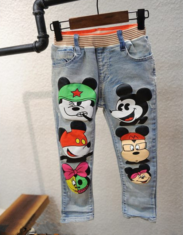 2016 kids jeans trousers cartoon kids girls boys clothing Casual Elestic Waist Denim Pants Child Trousers Baby Clothes(China (Mainland))