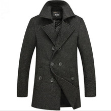 Double Breasted Mens Top Pea Coat Long Men Stylish Winter Trenchcoat Thick Men's Wool Overcoat Plus Size Windbreaker XXXXL Brown(China (Mainland))