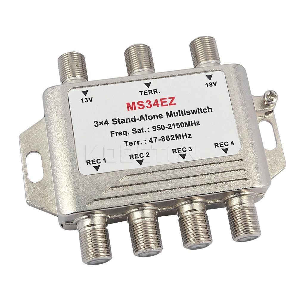 High Quality MS34EZ 3x4 Satellite MultiSwitch Splitter FTA TV LNB Switch Cascade satellite 3 in 4 Multiswitch For DVB-S2 DVB-T2(China (Mainland))