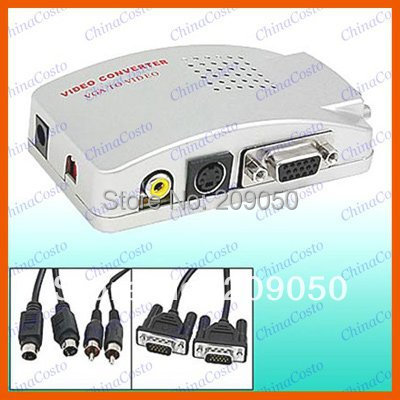 New arrival PC VGA to VIDEO S-VIDEO, PC to TV VCD DVD VGA Converter Adapter Swtiching Switch Box
