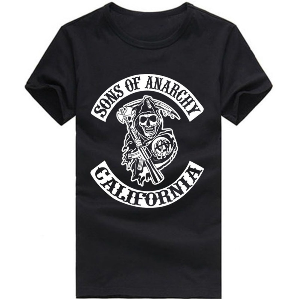 Sons Of Anarchy T Shirts Men Samcro Hells Angels Goth Rock Man T Shirt Bronzier Silver