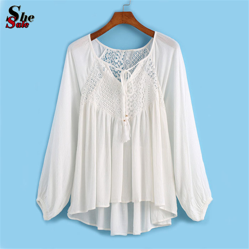 Women Summer Kawaii Clothes Fashion White V Neck Long Sleeve Pleated Front Lace Dip Hem Loose Chiffon Blouse(China (Mainland))