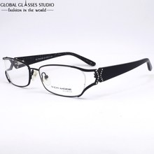 High Quality Black Women/Lady/Female Stainless Steel Frame Fahion With Shining Diamond and Cristal pin Eyeglasses MGRM00386C5