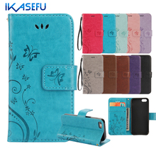 IKASEFU Embossed Butterflies Stand Wallet Leather Case for iPhone 7 7 Plus 6S 6 Plus 5SE 5S 5 4S 4 iPod Touch 5 6 Flip Covers(China (Mainland))