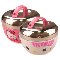 Free shipping 2015 Hot Hello Kitty Thermos Lunch box Stainless Steel Insulation Bento Women Outdoor Food Container Dinnerware