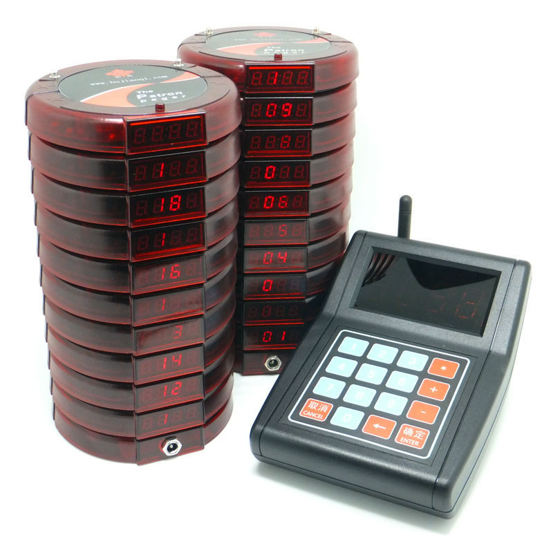 Wireless coaster patron pager with 20 receivers, coffee shop Restaurant club Service Equipment Guest paging system pagers 433mhz(China (Mainland))