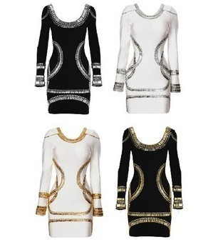 DHL  Free shipping TOP QUALITY Hottest Kim Kardashian long sleeve sequin knee length fashion bandage dress cocktail dress