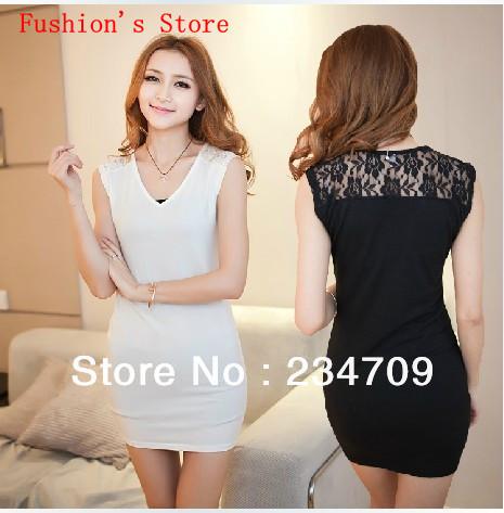 black/white V-Neck lace splice cotton splice dress/dresses new fashion 2013/dress women/bodycon dress,1 pcs/lot