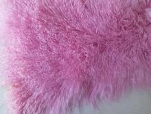 Подлинная розовый монгольский мех ковер плита бросок шерсть 2'x4′