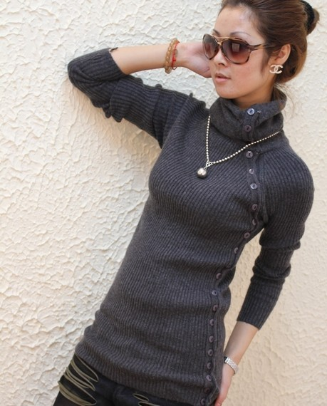 Warm Sweaters Womens 2015 Winter Fall Single-breasted Slim Basic Knitted Jumper Ladies Rabbit Hair Pullovers Turtleneck Sweater(China (Mainland))