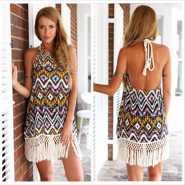 S-L New 2015 most unusual fashion wind fringed women lady Fashion Sexy Halter Dress Halter stamp 6023(China (Mainland))
