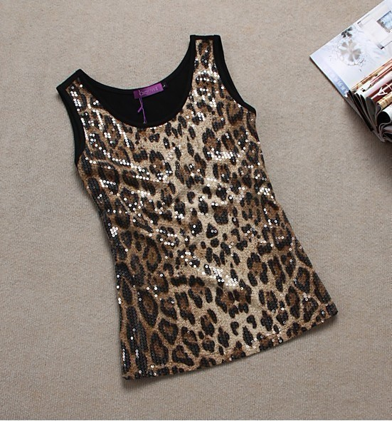 Plus size clothing summer mm plus size sexy leopard print paillette basic small vest spaghetti strap