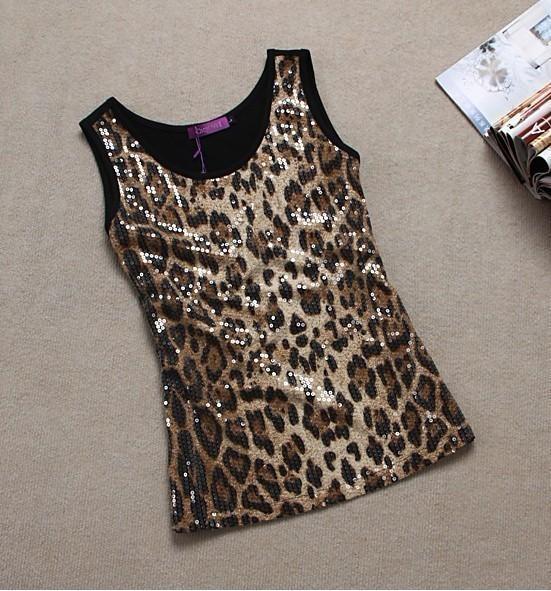 Plus size clothing summer mm plus size sexy leopard print paillette basic small vest spaghetti strap