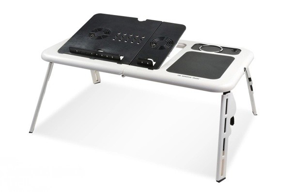 Latest Design Folding Laptop Table Sturdy Portable Lap Desk Stand with Dual Cooling Fans for Notebook Tablet PCs and Books(China (Mainland))