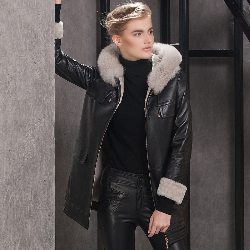 2015 leather clothing fur one piece womens medium-long fur berber fleece overcoat with a hood outerwearОдежда и ак�е��уары<br><br><br>Aliexpress