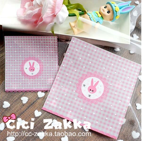 100pcs/lot New product 2size pink cookie plastic packaging bags self adhesive bags free shipping(China (Mainland))