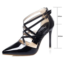 2016 new black red golden silvery women sexy pumps lady fashion pointed toe thin high heels