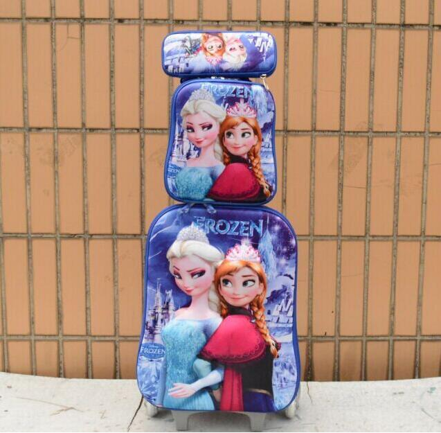 luggage sets Elsa& Anna 3D crown travel bag suitcase wheel (lunch box + pen boxes+trolley )